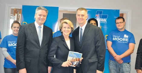 • Liberal senator Mathias Cormann, Julie Bishop and Darryl Moore at his HQ launch in Beaufort Street last weekend. Photo supplied