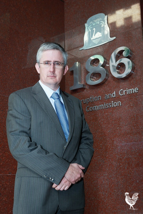 • Former Stirling councillor Paul Collins outside the WA corruption and crime commission HQ. Photo by Jeremy Dixon