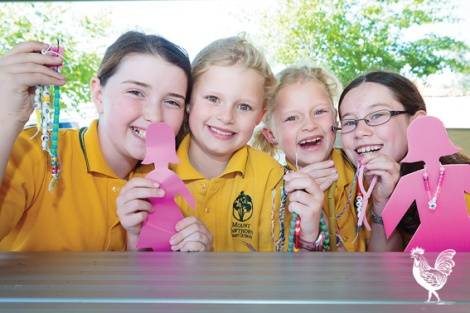 • Mia Cahill, Chloe and Mia Dennis and Erin Pond are looking forward to raising money for breast cancer awareness month at the Mt Hawthorn community fair next month. Photo by Jeremy Dixon