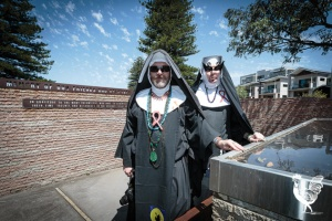 • Mother Gretta Amyletta and sister Mary Jane Singleton are blessed happy the Robertson Park AIDS Memorial has been fixed. Photo by Jeremy Dixon