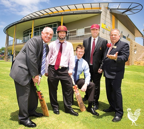 • WA sports minister Terry Waldron takes the crease, with Tuart Hill Cricket Club members Phil Goodwin and Daniel Bonner, Cr David Michael and Stirling mayor Giovanni Italiano. Photo supplied