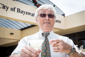 • Ratepayer Tony Green hosts his own private cocktail function outside Bayswater city council. Photo by Jeremy Dixon