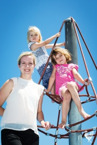 • Stephanie Coats with daughters Claudia and Esther at Riverside Gardens playground. Photo by Jeremy Dixon