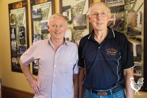 • Ian Holthouse and Richard Williams at Anzac cottage. Photo by Matthew Dwyer