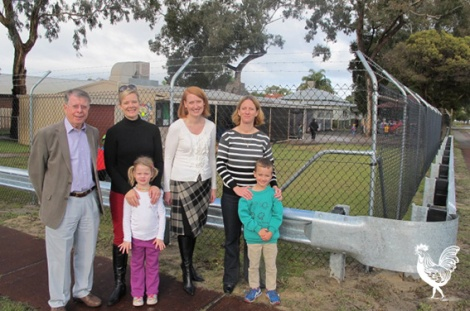 • Cr Terry Tyzack and MLC Donna Faragher with Aileen and Ruby Johnson and Amanda and Ethan Hawkins outside the new crash barrier at Inglewood pre-primary. Photosupplied