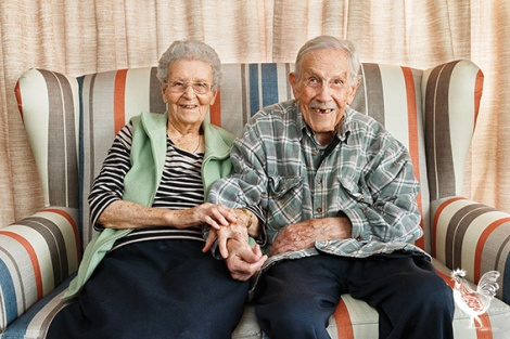 """• Centenarians Amy and Hilton Nunn, """"very happy"""" residents of the City of Bayswater Hostel, are celebrating 80 years of marriage. PhotobyMatthewDwyer"""