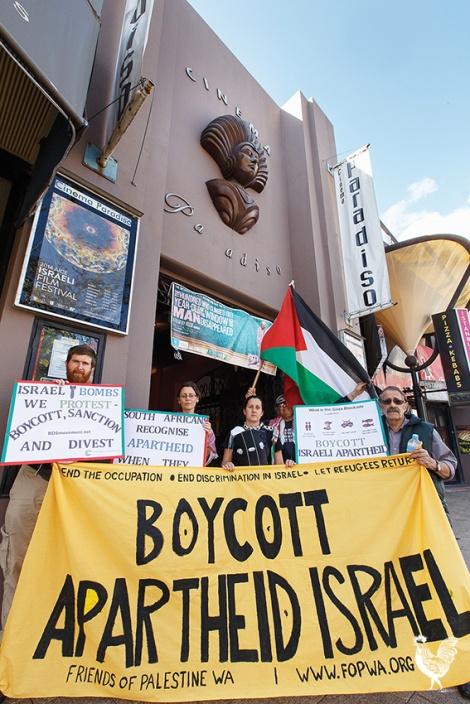 • Members of the Friends of Palestine WA warm-up for their Israeli protest. PhotobyMatthewDwyer