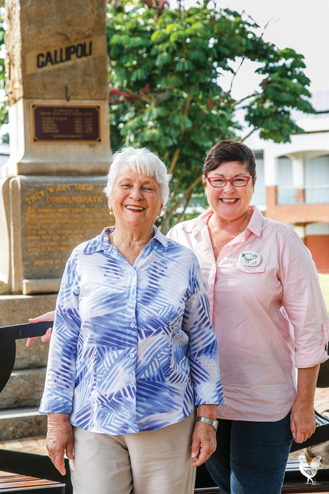• Pam Gaunt and Lisa Baker at the Maylands War Memorial—soon to recognise Aboriginal veterans. PhotobyMatthewDwyer