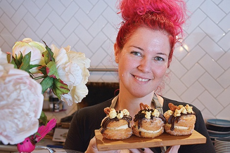 Sugar & Nice cafe owner Marnee Rinaldi with salted caramel cronuts.