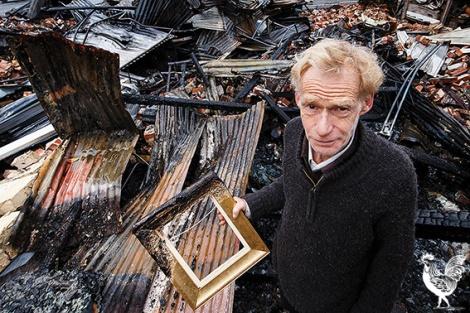 • Artist John Cartwright at his burnt-down studio. Photo by Matthew Dwyer