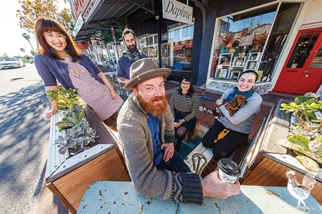 Front: Andrew Christie from A Good Looking Man, Alina Tang from Beau est Mien, Groovy bearded man number two: Adam Mitchell and Sophie Bower Johnston, both, front Daphne (cafe) and Yvette Coyne from City of Vincent, coordinator of Arts and Creativity. Photo by Matthew Dwyer