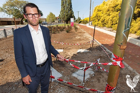 • Bayswater council candidate Dan Bull at the site of Bayswater's $255,000 dunny. The footings are visible and the dunny was installed later in the week. Photo by Matthew Dwyer