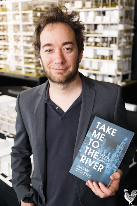 • Julian Bolleter with his book Take me to the river: The story of Perth's foreshore. Photo by Matthew Dwyer