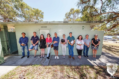 • The creative crew behind a $64,000 makeover of Claughton Reserve toilets. Photo by Matthew Dwyer