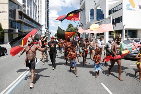 • The Survival Day march on January 26 might not have attracted the same numbers as the Australia Day festivities, but there was plenty of passion. Photo supplied | Alex Bainbridge/Green Left Weekly