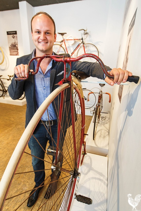 • Museum of Perth chair Reece Harley with a squadron of old timey bikes. PhotobyMatthewDwyer