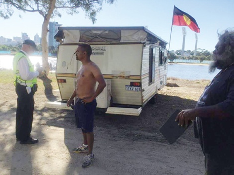 • Clinton Pryor talks to rangers issuing fines at Matagarup.