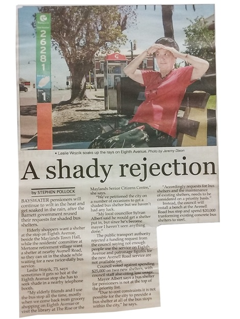 • Two years ago and today: Maylands' elderly bus passengers now have a sheltered bus stop.