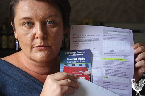 • Catherine Ehrhardt says locals are being stung by tricky voting forms that send your details to the Liberal party. Photo by Steve Grant