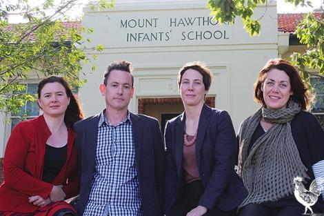 • Mt Hawthorn primary school parents Melissa Ledger, Scott Yelland, Andrea Cole and Emma Cole. Photo bySteveGrant