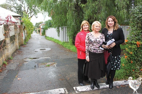 • Anna Kirstancic, Mary McHenry and Eleni Evangel worry traffic from a new childcare centre could endanger kids in the North Perth neighbourhood. Photo by David Bell
