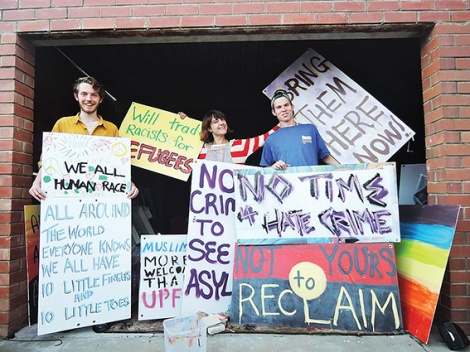• Ellie Glen, Sam Evers and Calim Carty are holding an anti-racism counter-rally.