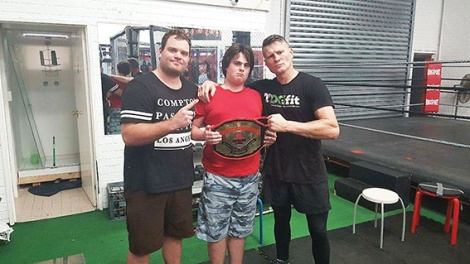 • Hayden Wright, Matthew Brandish and boxing legend Danny Green. Photo supplied