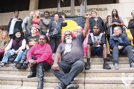 • Bella and Herbert Bropho and supporters outside the Federal Court. Photo by Steve Grant