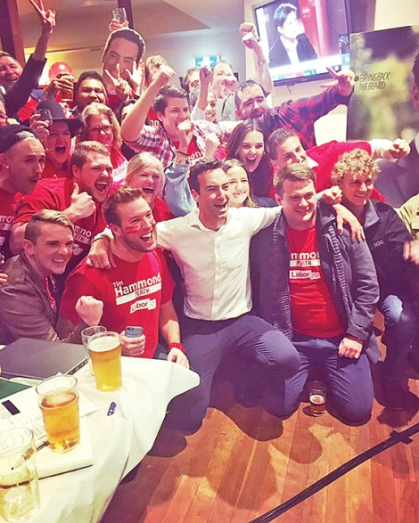 • Tim Hammond celebrates his electoral victory with supporters.