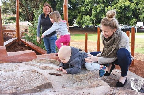 • It's school holidays and Benjamin Pearce and mum Laura Carpenter, and Emily and Karen Ross were helping to break in Bert Wright Park's new nature playground.PhotobySteveGrant