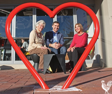 • There's lots of love in Vincent, says mayor John Carey, snapped discussing his new senior's initiative with Jude Gauntlett and Anne Bate through one of the council's distinctive new bike racks. He says lots of people are calling the council wanting to buy their own (racks, not seniors). Photo by Steve Grant