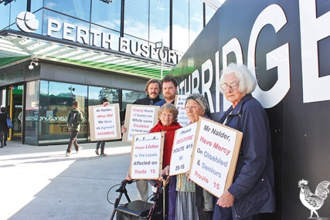 • Tad Krysiak, Robert McAuley, Pat Chinnery, Eugenia Krysiak and June Payne are fighting the loss of bus route 14. Photo by Steve Grant