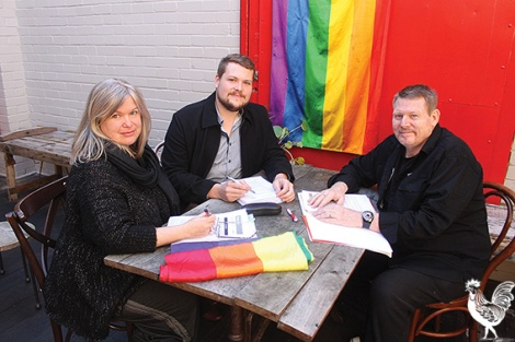 •Rainbow Rights WA members Katrina Montaut, Jon Mann and Neil Buckley are petitioning the premier to expunge historical anti-gay convictions. Photo by David Bell