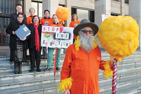 • The Lorax, aka tree-speaker Greg Smith, at parliament house with environment shadow Chris Tallentire, MP Lisa Baker and other wetlands protestors.