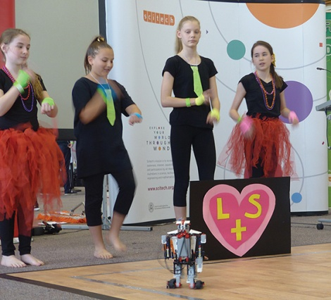 • Kids from St Paul's lead their robot on a merry dance. Photo supplied
