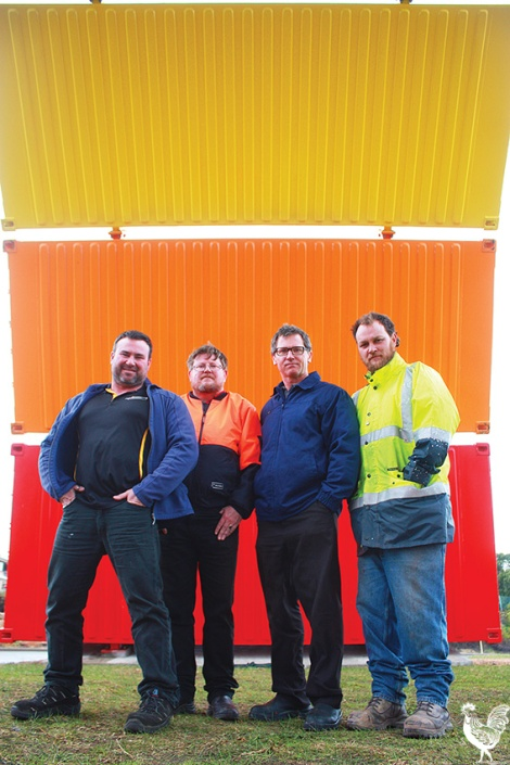 • Peter Camarri from CME Boilermaking Services, Dion Clifford from True Blue Containers, Mike Filmer from Cameleon Paints and True Blue's Matty Burgess are thrilled to have been part of Rainbow.