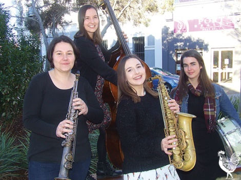 Gemma Farrell (soprano sax) Alana MacPherson (alsto sax) Talya Valenti (drums) and Kate Pass (double bass) are carrying the torch for women in jazz. Photo by Jenny D'Anger