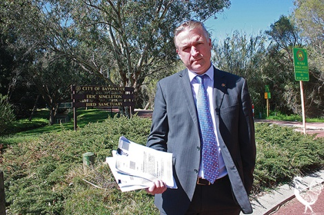 • Bayswater councillor Chris Cornish says an environmental report on the Skippers Row sub-division didn't cover the clearing of wetlands in a neighbouring block. Photo by Steve Grant