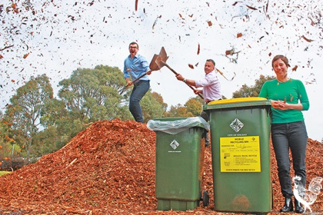 "• THERE'S free mulch for all at Britannia Reserve at the corner of Britannia Road and Federation Street in Mt Hawthorn, the remains of trees cut down around Vincent.  Mayor John Carey, pictured with the council's parks manager Jeremy van den Bok and councillor Emma Cole modelling the council's new big recycling bins, says no one likes to see a tree go, but when it does it'll at least get a Lion King-style ""circle of life"" send-off and they'll continue to pile the mulch at the corner for anyone to take it any time. ""Rather than sending trees off to go to green waste, off to Mindarie Regional Council, we can reuse it for another great benefit with our adopt a verge program [which sets up locals with free native plants and mulch for their verge] and a free mulch station. Any resident can go there, if there's mulch they can take it, and it's good for a waterwise garden."""