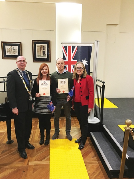 • Megan McAnulty reckons the City of Stirling deserves all the praise its citizenship ceremonies are getting. She's flanked by Cr Keith Sargent, JJ, and Janine Freeman MLA.