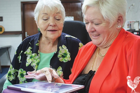 • Maylands Autumn Centre president and VP Sue Hayes and Karin Gant are web-savvy seniors. Photo by Steve Grant