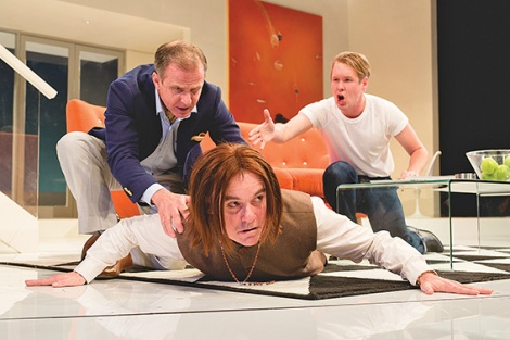 • Steve Turner, Darren Gilshenan, Alex Williams in Justin Fleming's adaptation of Tartuffe. Photo supplied