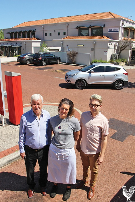 • Resident Paul Griffin with business owners Ursula Rose and Michael Hinkley. Photo by Steve Grant