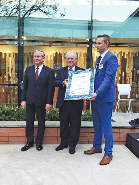 •  Bayswater mayor Barry McKenna and environment coordinator Jeremy Maher accept a premier's award for the Eric Singleton Bird Sanctuary this week. It's right next door to a wetlands the council passed up for sale which has now been partially cleared.