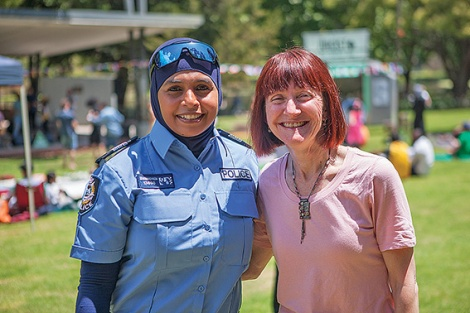 • Police officer Zen Mohamad-Kassim and Greens senator Rachel Siewert at the picnic.  Photos by Jaqueline Jane Photography