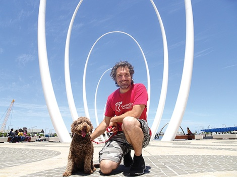 • Two Feet GM Ryan Zaknich with his spoodle Steve, checking out the Spanda at Elizabeth Quay.