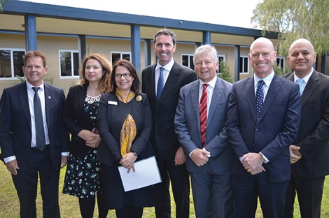•Education minister Peter Collier and Liberal colleagues including Eleni Evangel at the announcement the Liberal party will fund an $84 million upgrade of City Beach high school.