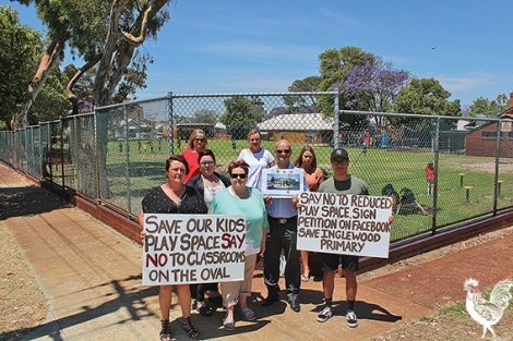 • Parents and neighbours protest a new building being dumped on the Inglewood primary school oval where children play.