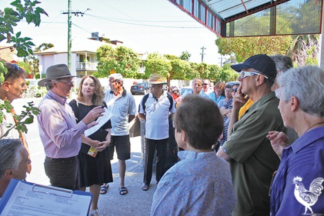 • Locals gather to discuss Rosewood's expansion and (right) the design for the facility's six-storey expansion.