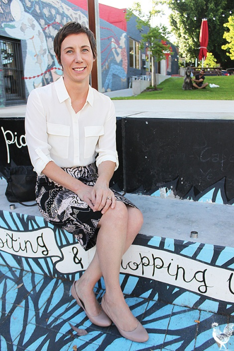 • Emma Cole at the Mary Street Piazza: she wants more public open space.